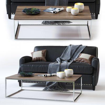 Crate & Barrel Metropole Leather Loveseat Sofa 3D Model