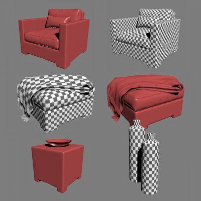 Crate & Barrel Ventura Collection Set-02 3D Model