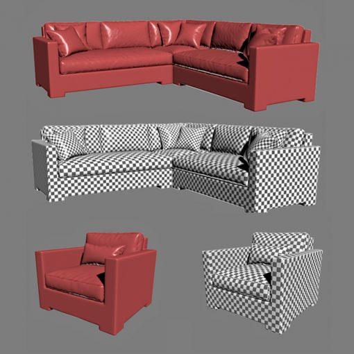 Crate & Barrel - Ventura Lounge Collection - Set-01 3D Model 3