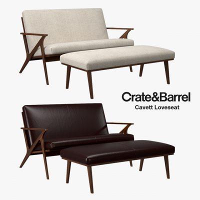 Crate and Barrel – Cavett Loveseat Sofa 3D Model