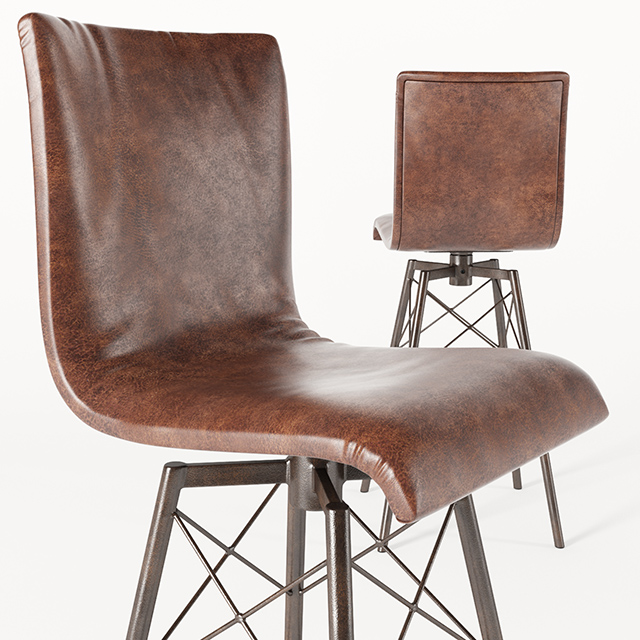 Crenshaw Leather Bar Stool 3D Model 2