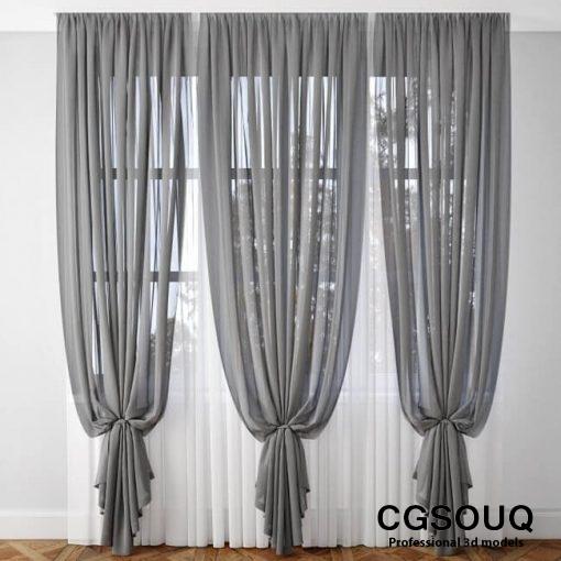 Curtain Gray 3D model