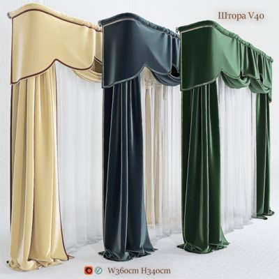 Curtain with Palmet 3D model