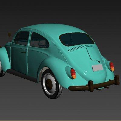 Cute Beetle Classic Car 3D model