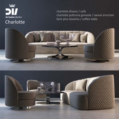 DV Home Charlotte Sofa Set 3D Model