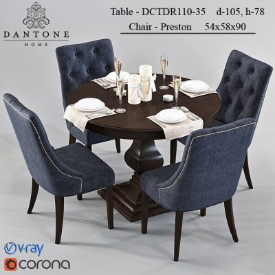 Dantone – Preston and DCTDR110-35 Table & Chair 3D Model