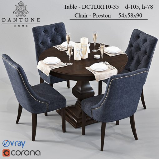 Dantone - Preston and DCTDR110-35 Table & Chair 3D Model