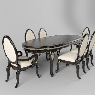 Dark Truffle Lavelle Dining Table & Chair 3D Model