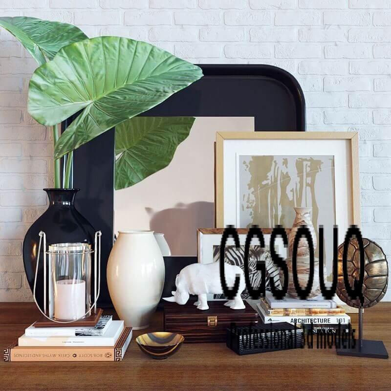 Decoration set Alocasia calidora 3D model 1
