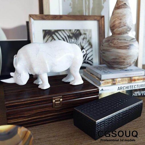 Decoration set Alocasia calidora 3D model 3