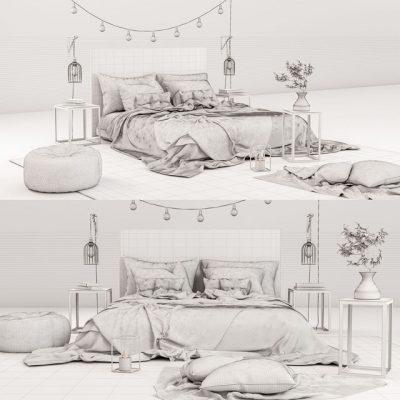 Decorative Bedroom Set 3D Model