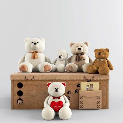 Decorative Set Teddy Bear 3D Models 1