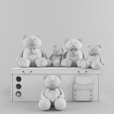 Decorative Set Teddy Bear 3D Models