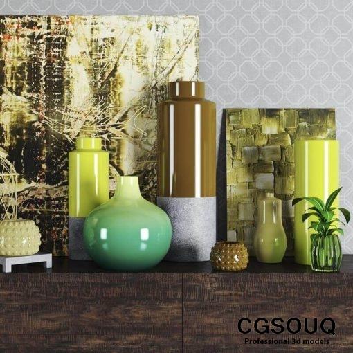 Decortive Set Vase 3D model 3