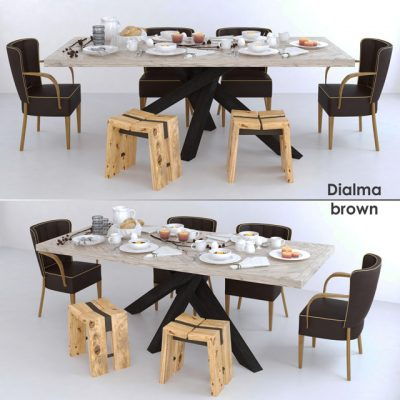 Dialma Brown Table & Chair Set 3D Model