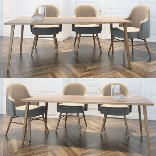 Dining Table & Chair Set-02 3D Model