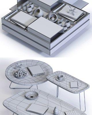 Ditre Italia Coffee Tables Set 3D Model