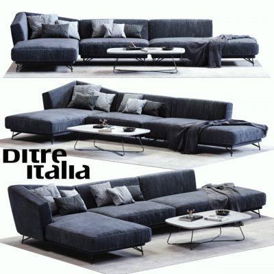 Ditre Italia Lennox Blue Sofa 3D Model