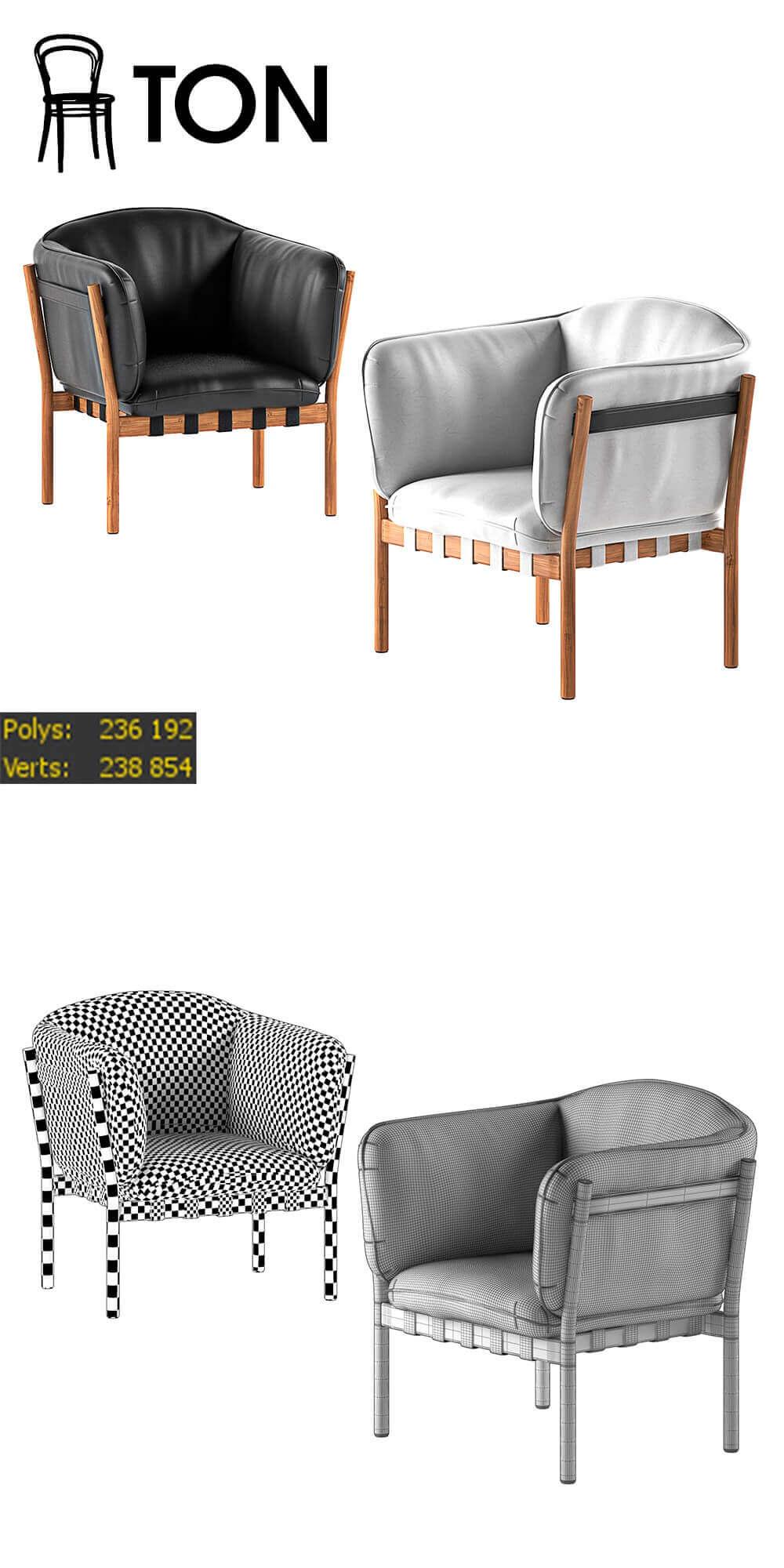 Dowel by Ton chair 3D model 2