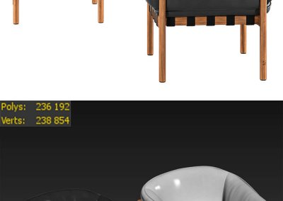 Dowel by Ton chair 3D model 3