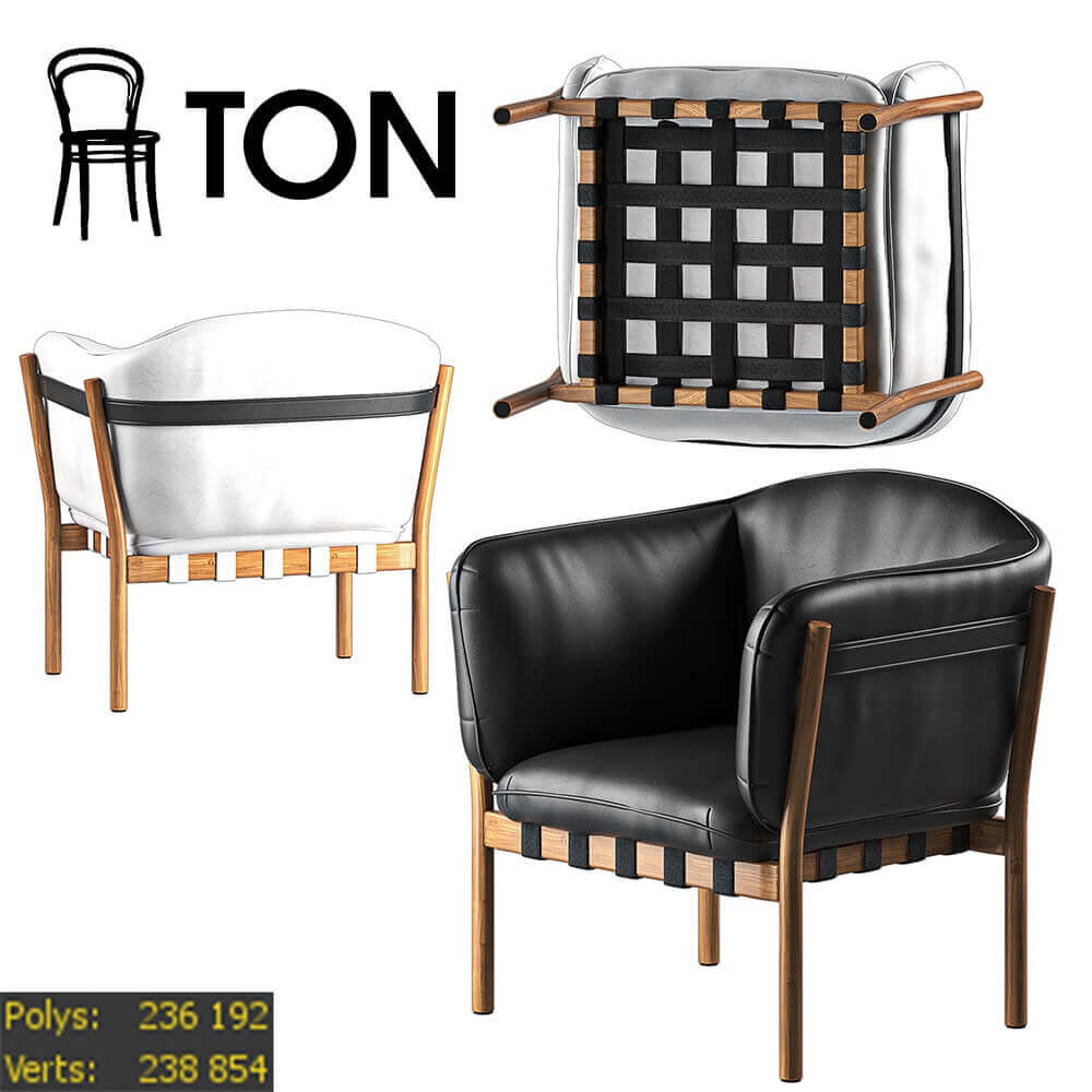 Dowel by Ton chair 3D model
