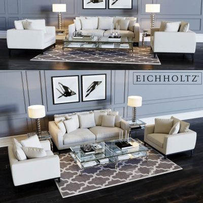Eichholtz Sofa Principe & Chair Principe 3D model (2)