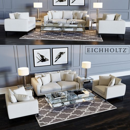 Eichholtz Sofa Principe & Chair Principe 3D model (2)