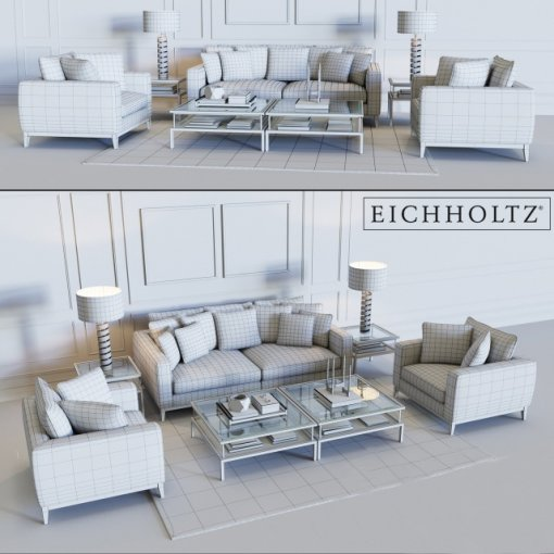 Eichholtz Sofa Principe & Chair Principe 3D model (3)