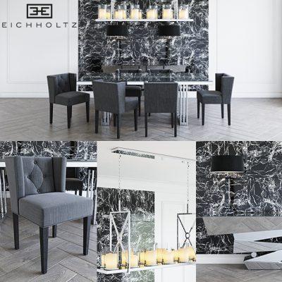 Eichholtz Table & Chair Set-03 3D Model