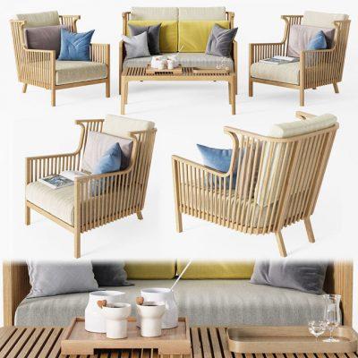 Elizabeth Teck Sofa & Armchair 3D Model