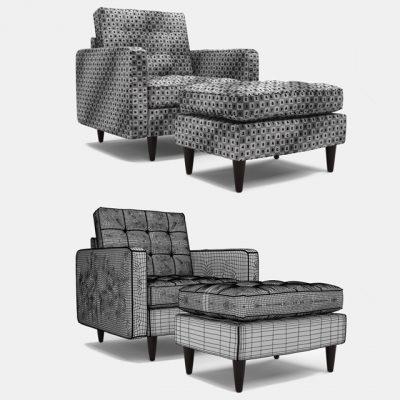 Empress Upholstered Armchair 3D Model