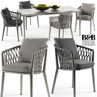 Erica Chairs Set B&B Italy 3D Model
