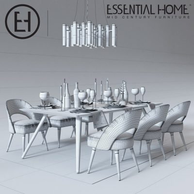 Essential Home Table and Chair set with accessories 3D model (1)
