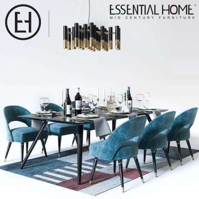 Essential Home Table and Chair set with accessories 3D model (2)