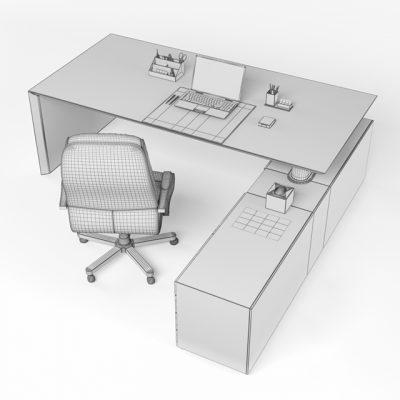 Fantoni Desktop Multiple CEO Office Furniture 3D Model 3