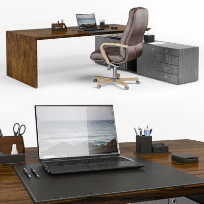 Fantoni Desktop Multiple CEO Office Furniture 3D Model