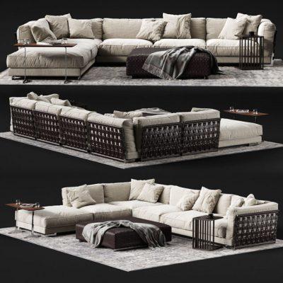 Flexform Cestone Corner Sofa Set 3D Model