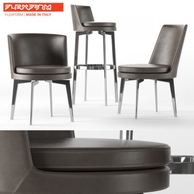 Flexform Chair Set 3D Model