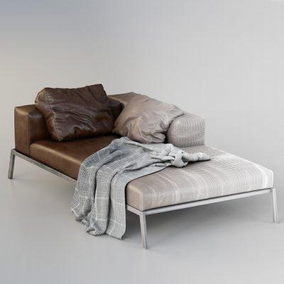 Flexform Lifesteel Lounge Chaise 3D Model