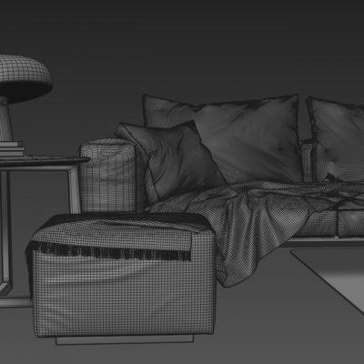 Flexform Lifesteel Sofa 3D Model 3