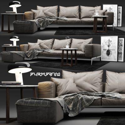 Flexform Lifesteel Sofa 3D Model