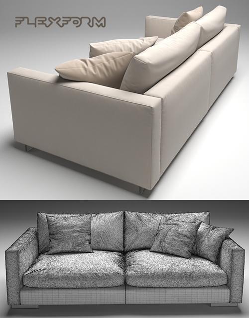 Flexform Magnum Sofa Set-02 3D Model 3