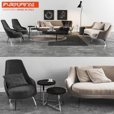 Flexform Sofa Set-01 3D Model