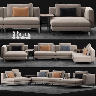 Flou Tay Modular Sofa Set-01 3D Model