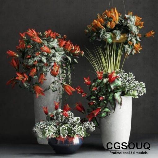 Flower Vase Decor 3d Model