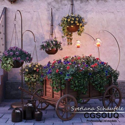 Flower cart 3D model (10)