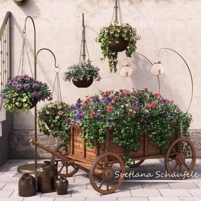 Flower cart 3D model