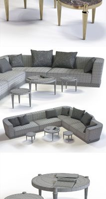 Fratelli Longhi Welles Corner Sofa 3D Model