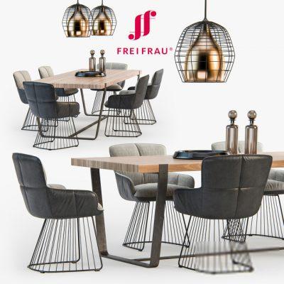 Freifrau Dining Table & Chair 3D Model