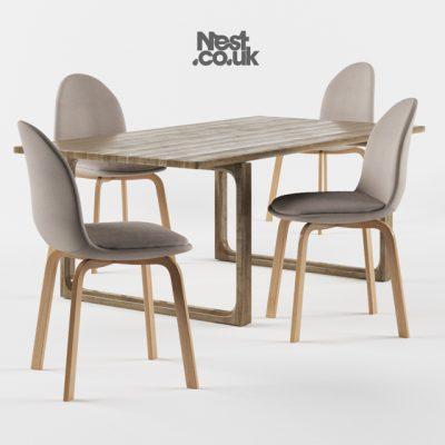 Fritz Hansen Sammen Table & Chair 3D Model